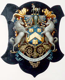 Saddlers' Company Crest, with motto 'Our Trust Is In God'